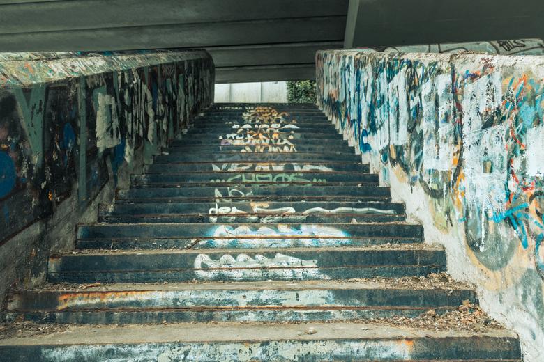 Trap met grafitti - Trap met graffiti bij de sluizen van Wijk bij Duurstede.<br />