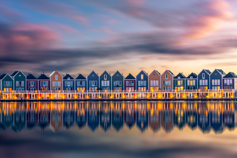 Houten - The colorful rainbow houses in Houten, one of the most photographed houses in the Netherlands