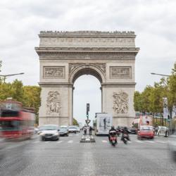 beweging op de Champs Elysees