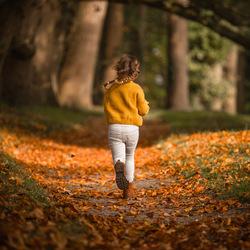 Meisje met vlechtjes rennend in herfst bos