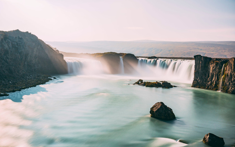 Waterfall of the Gods - Goðafoss is one of the largest waterfalls in Iceland. It is located in the Mývatn district of North - Central Iceland at the b