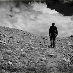 Man on the hill Austria b&w