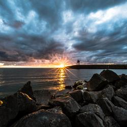 Lichtval op IJsselmeer in Stavoren