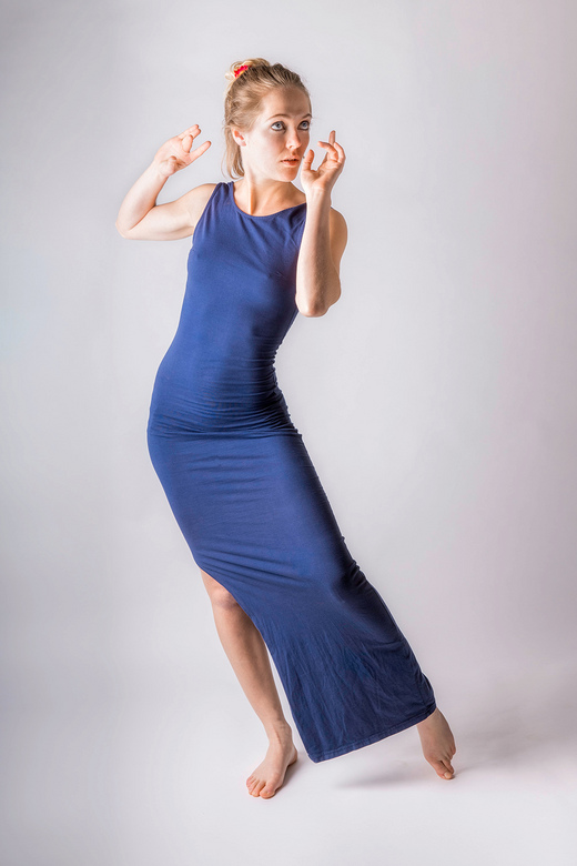 blue dress - model Rose Freedom