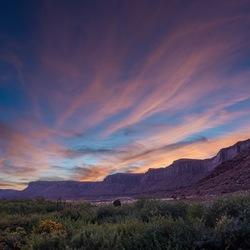 Zonsondergang langs Colorado River