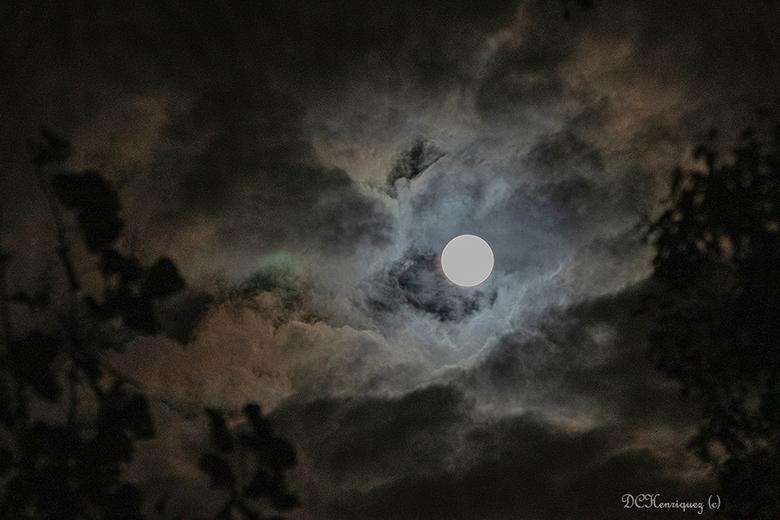Volle maan  - Gisteravond een fraaie wolkenlucht waar tussendoor de maan tevoorschijn kwam, zo'n mooi verschijnsel. Als iemand tips heeft om wat