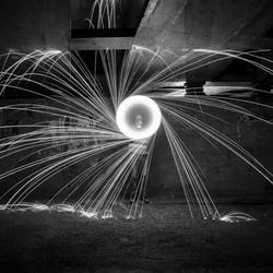 circle of burning steel wool