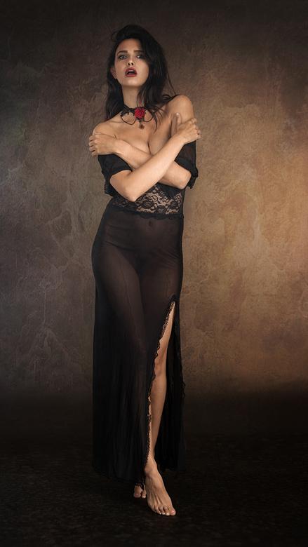 diaphanous black dress - model Zoi