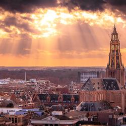 Skyline Groningen gezien vanaf de Martinitoren