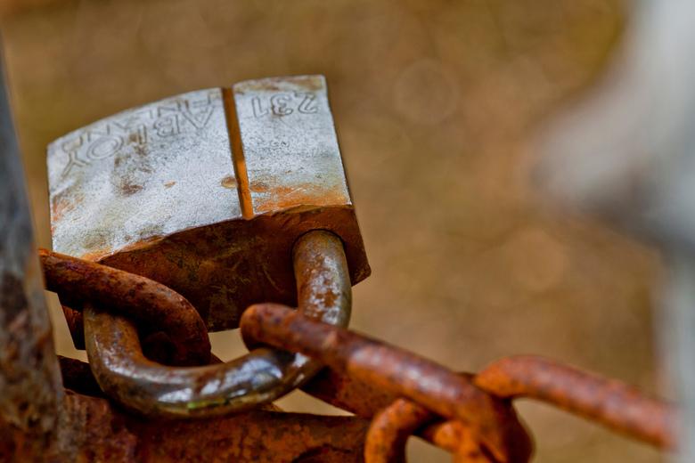Locked up - Slot in een hek van een omheining van de duinen