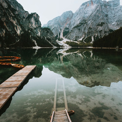 Stairs to Lago di Braies.