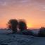 Rising sun at Angeren, the Netherlands