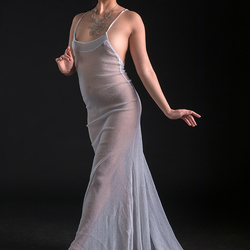 sophisticated lady in diaphanous dress