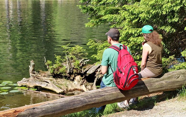 Arbersee. - Deze mensen genieten van het uitzicht van de Arbersee in het Bayerische Wald.<br /> Het ligt op een hoogte van 935 meter en heeft een opp