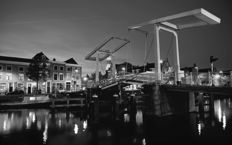 Spaarne Bridge BW - I took the picture going around Haarlem in the afternoon. Here a classic corner of the city in Black and White. I love the dark co