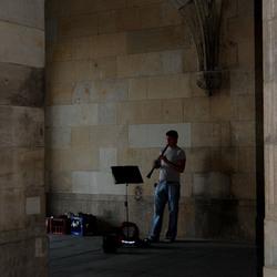 Muzikant bij schemering