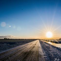Winterlandschap in de vroege ochtend