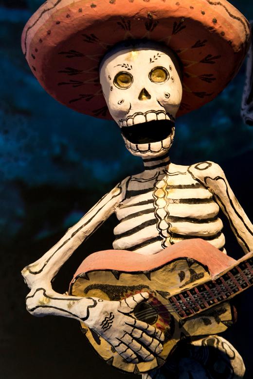 Día de los Muertos - Papiermaché skelet in Volkenkunde Museum in Leiden.