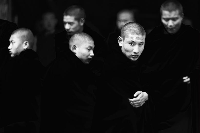 Monks - bij Timphu, Bhutan