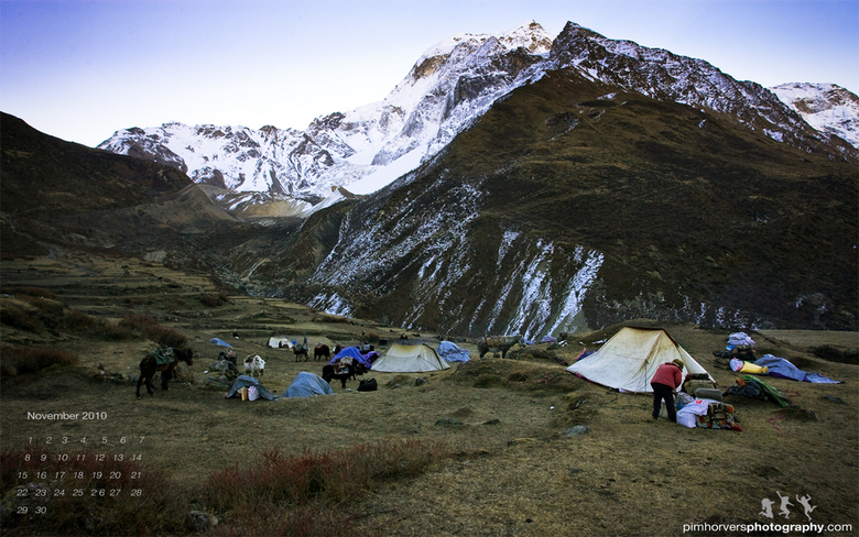 Amdo caravan at sunrise - Photo is taken in the early morning close to the vilage Amdo. Deep in the Manaslu mountain area on the way to the Larke pass