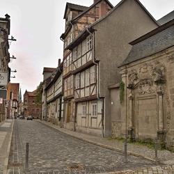 Oude vakwerkhuizen in Quedlinburg, foto 1.