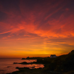 Zonsondergang in Bretagne.