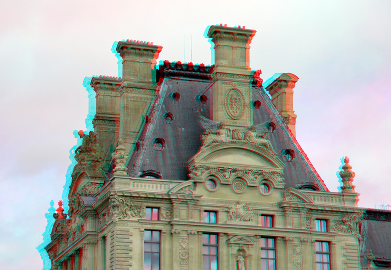 Louvre Paris 3D - Louvre  anaglyph stereo<br /> cha-cha  18-200 Nikkor