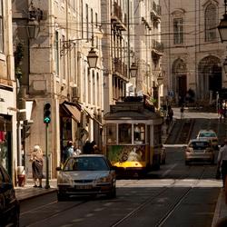 tram in de stad