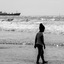 Silhouette of a child at a beach