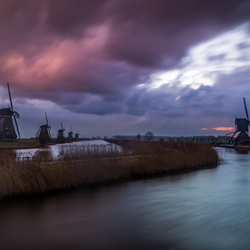 Crazy sunrise at Kinderdijk