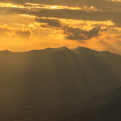 Crepuscular rays over Lovere, Italy!