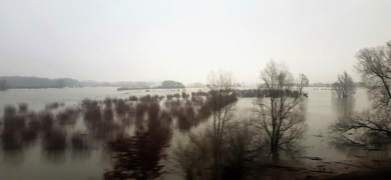 hollandse lucht - dezelfde locatie bij Zaltbommel. en een geheel andere foto.<br /> De waal was buiten zijn oevers getreden en het was een grijze dag