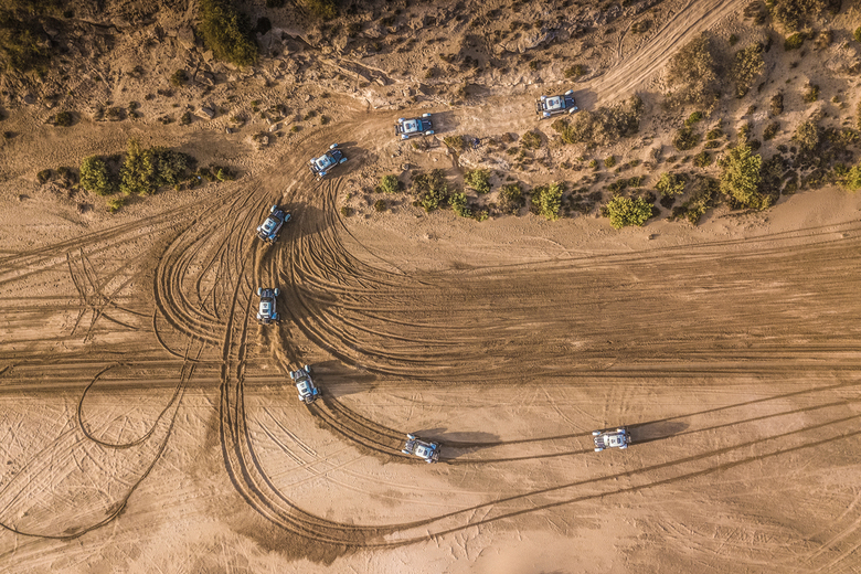 Rally sequence - Stéphane Henrard in a sequence of eight from the sky during the first stage of  the Morocco Desert Challenge