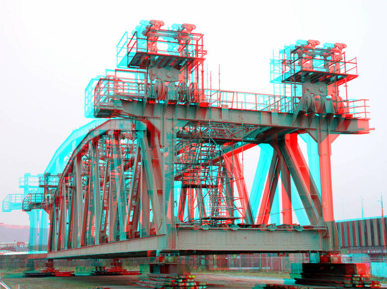 Hefgedeelte Spoorbrug Rotterdam 3D - de Hef Rotterdam<br /> 3d stereo anaglyph red/cyan