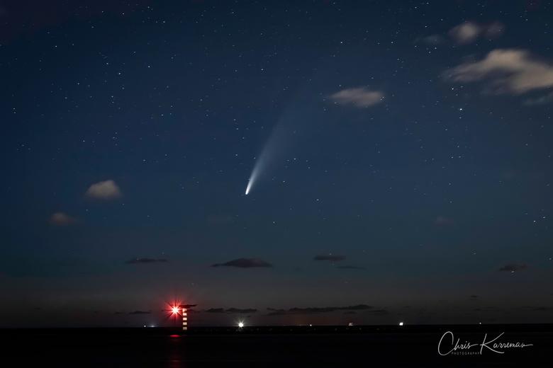 de Komeet C-2020 F3 (NEOWISE) aan de Maasvlakte - De Komeet C-2020 F3 (NEOWISE)-2 op de Maasvlakte.