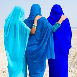 Vrindinnen in blauw