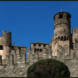 middeleeuws kasteel achter struik