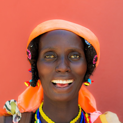 Green eyed African woman