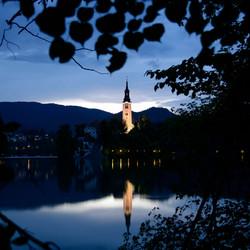 Zonsondergang in Bled (Slovenië)