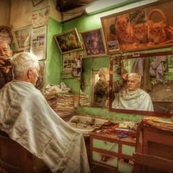 Selfie bij de kapper in Marakech