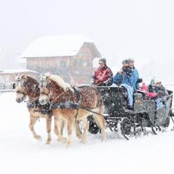 slee op het ijs bij de weissensee in Oostenrijk