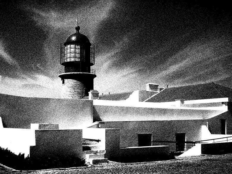 Portugal Lighthouse - De 150 jaar oude vuurtoren op het zuidwestelijkste puntje van Europa, Kaap Sint-Vincent in Porutgal.