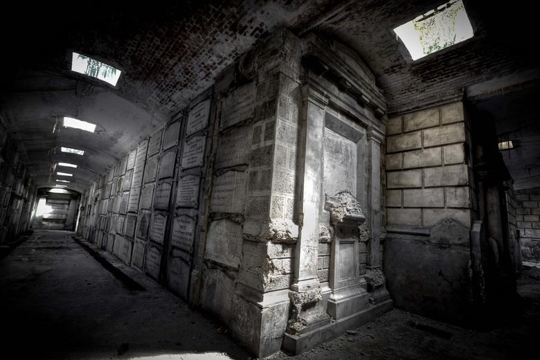 Koninklijke Crypte (België) - De crypte is gelegen onder een koepel achter het priesterkoor of hoogkoor. Twee trappen aan beide zijden achter het hoof