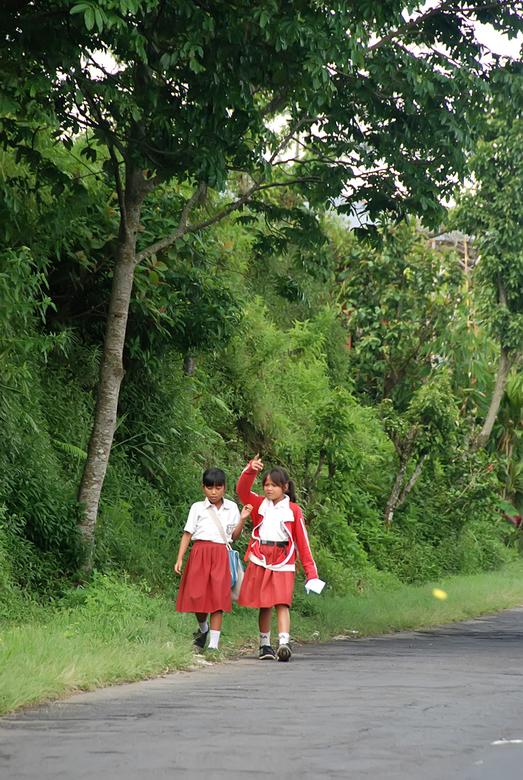 schoolmeisjes - Ergens onderweg in het noorden van Bali kwam ik deze 2 schoolmeisjes tegen. Druk in gesprek over....... (foto van een grote afstand ge