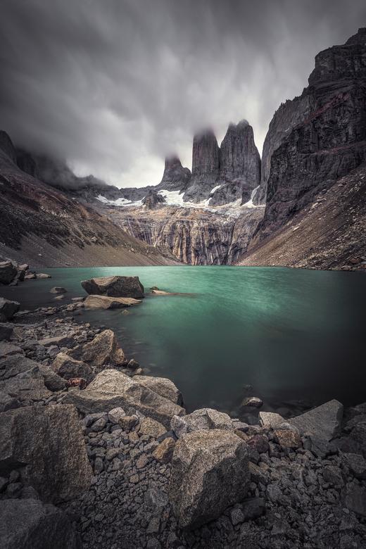 Towers Del Paine - De Towers van het nationale park, 'Torres del Paine' in Chili. Om daar te geraken moet je eerst een halve dag wandelen me