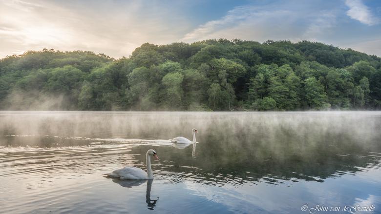 Zonsopkomst, mist en zwanen - Deze opname heb ok tijdens de zonsopkomst in de cranenweyer te Kerkrade gemaakt. Het was een prachtige mooie zonsopkomst