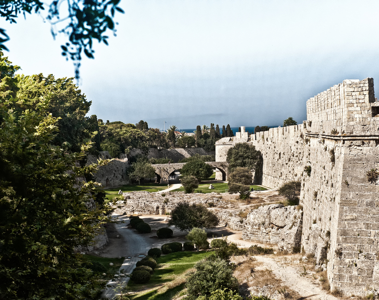 Around the town - The moat and walls of the old town in Rhodos