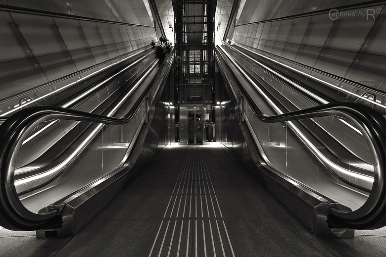 Escalators 1 - The longest escalators of the Netherlands.<br /> Made with an 16mm ultrawide