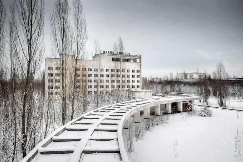 Pripyat in de sneeuw - Genomen tijdens de ZOOM uitstap n.a.v. de Ultimate Urbex Tsjernobyl wedstrijd.