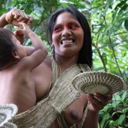 Waorani-indianen in Amazone